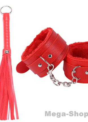 Набор наручники + плетка кожаные для ролевых игр. Интимные тов...