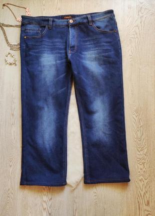 Синие зимние теплые джинсы прямые на флисе байке стрейч батал ...
