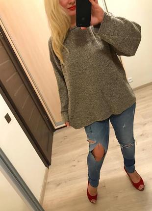 Ровный прямой свитер цвета camel меланж