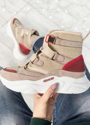 ❤ женские бежевые нубуковые осенние деми  ботинки сапоги полус...