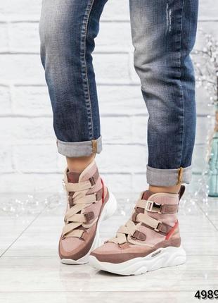 ❤ женские пудровые нубуковые осенние деми  ботинки сапоги полу...