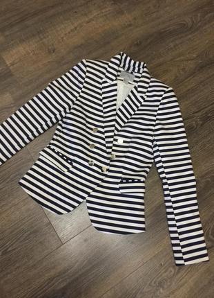 Стильный жакет пиджак в полоску h&m
