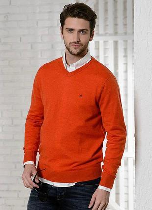 Cтильный оранжевый пуловер tommy hilfiger made in hong kong