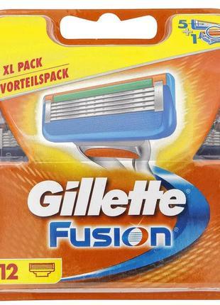 Сменные кассеты для бритья Gillette Fusion 12шт Сменные картри...