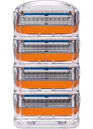 Сменные кассеты для бритья Gillette Fusion без упаковки 4шт Ле...