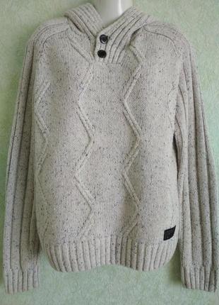 Очень теплый мужской свитер с капюшоном.ук. р-50+. reserved.