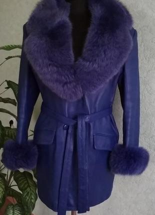 Женская васильковая кожаная куртка ук.р.-48-50. к сожалению би...