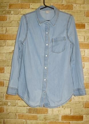 Джинсовая рубашка на перламутровых кнопках девочке 6-7 лет
