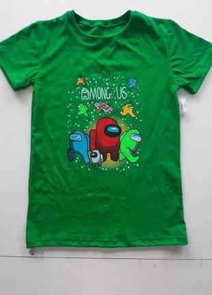 Футболка для мальчика амонг ас зеленый цвет