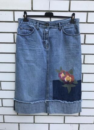 Джинсовая юбка,бахрома,потертости,цветочная роспись,хлопок:бол...