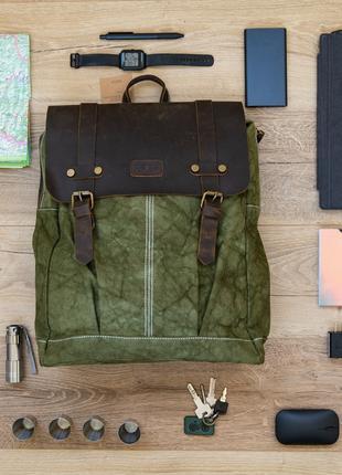Рюкзак из конопли и кожи (сверх прочный и водоотталчивающий)