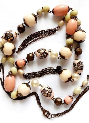 """Винтажное ожерелье """"сотуар"""" италия под античное золото натур к..."""