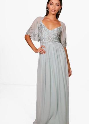 Нежное платье в пол с вырезом на спине asos, шифоновое вечерне...