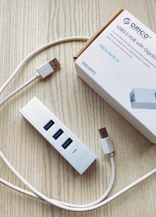 Адаптер USB 3.0 хаб Ethernet Gigabit переходник для Мака и ПК
