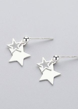 Серебряные сережки гвоздики с подвеской звезды серебро коробоч...