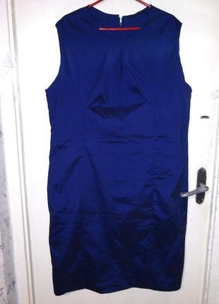 Стрейч,,тёмно-синее с отливом,платье-футляр с разрезом,большог...