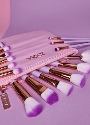 Набір кистей для макіяжу zoeva pink (15 шт.)