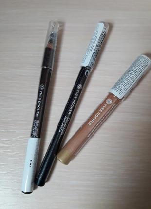 Набор новых карандашей для глаз yves rocher: черный, коричневы...
