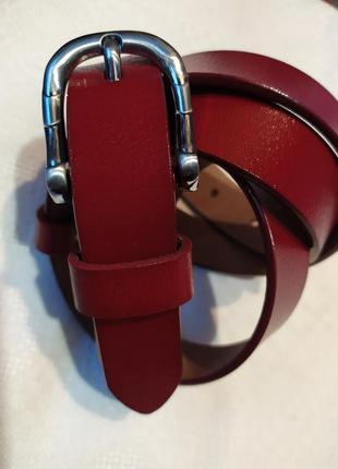 Женский кожаный пояс ремень красный вишня глянцевый в наличии