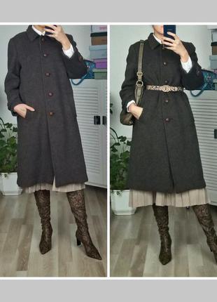 Теплое шерстяное пальто оверсайз винтаж жіноче шерстяне пальто