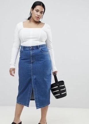 Джинсовая юбка карандаш с разрезом спереде topshop