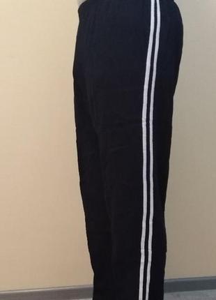 Штаны брюки спортивные теплые с начесом на байке чёрные синие ...