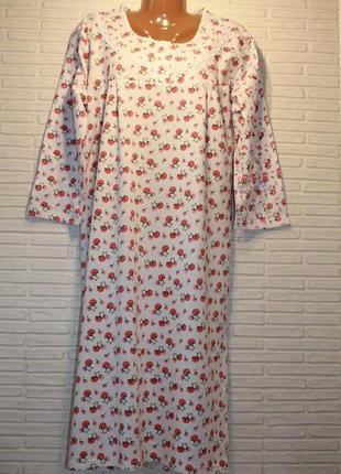 Ночная рубашка, ночнушка, ночная сорочка, теплая, с начесом, н...