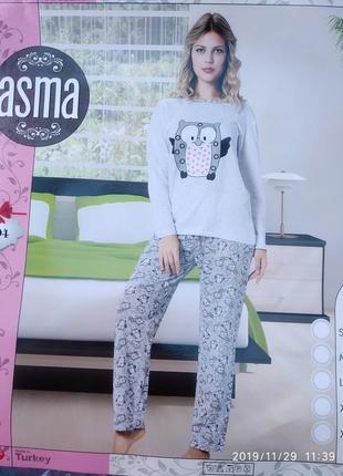 Женская пижама теплая с начесом на байке 100%хлопок