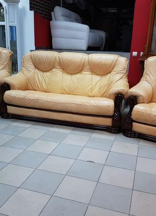 Кожаный диван кожаный комплект шкіряний диван кожаный гарнитур
