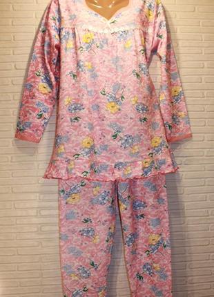 Пижама ночная ночнушка женская теплая на байке 100хлопок