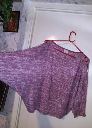 Стильная,меланж.блуза,летучая мышь с оригин. рукавами и открыт...