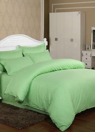 Постельное белье страйп сатин салатового (зелёного) цвета