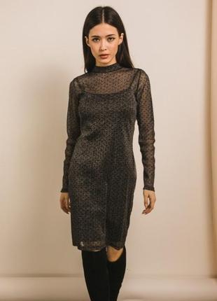 Нарядное блестящее платье-сетка