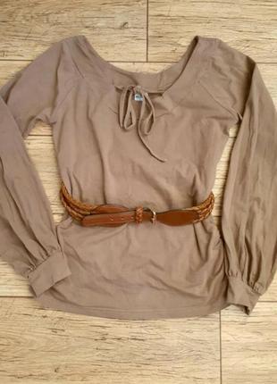 Стильная блуза кофточка с трендовыми пышными рукавами открытая...