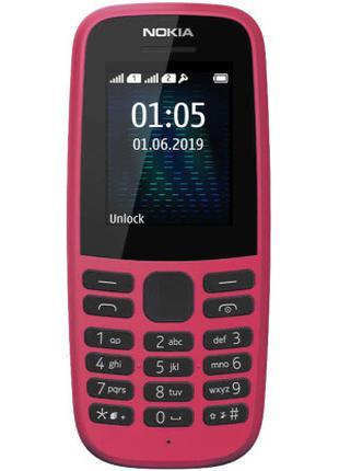 Телефон Nokia 105 SS розового цвета