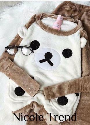 ❤️теплая махровая уютная пижамка мишка❤️