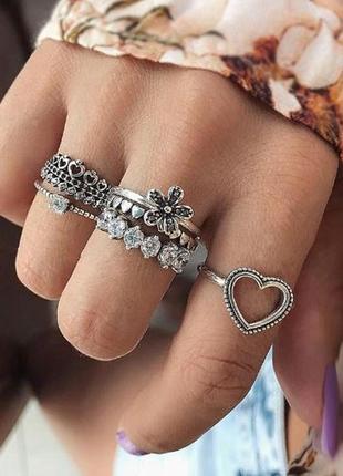 Набор колец 6 штук серебристого цвета ( кольцо сердце, кольцо ...