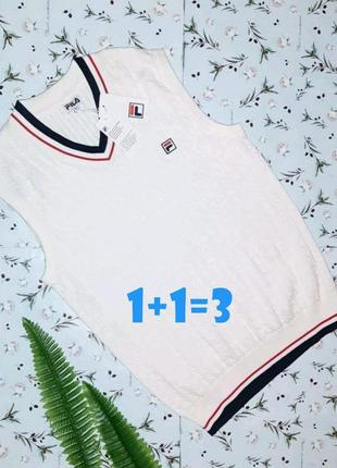 🎁1+1=3 шикарный белый свитер безрукавка fila оригинал, размер ...