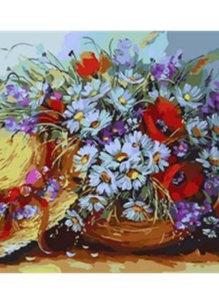 Картина по номерам Mariposa Букет ромашек и шляпка 40Х50см Q1734