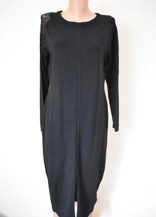 Красивое теплое платье с кружевом на рукавах adrienne vittadini