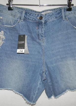 Новые джинсовые шорты с вышивкой george