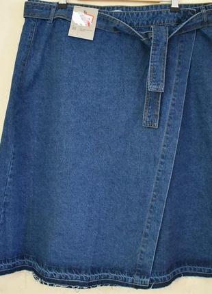Новая стильная джинсовая юбка на запах большого размера tu