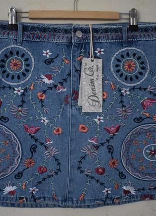 Новая красивая джинсовая юбка с вышивкой большого размера deni...