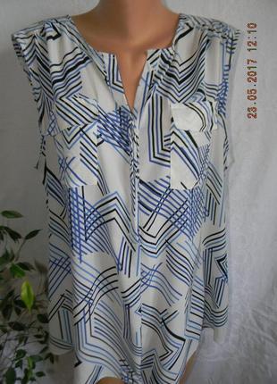 Легкая летняя блуза с принтом большого размера