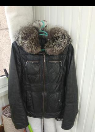 Кожаная куртка зима чернобурка