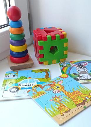 Развивающие деревянные игрушки. пирамида, пазлы, сортер.