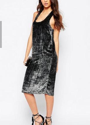 Новое велюровое вечернее платье vila clothes