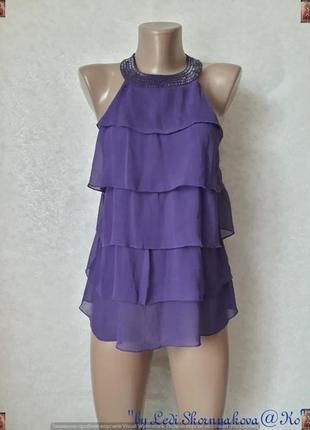 """Новая нарядная шифоновая блуза с бисером на шее цвета """"сирень""""..."""
