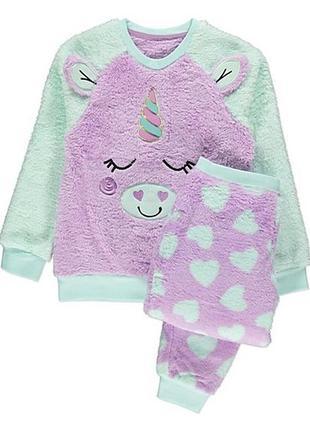 Пижама флисовая пушистая единорог 3-4 george