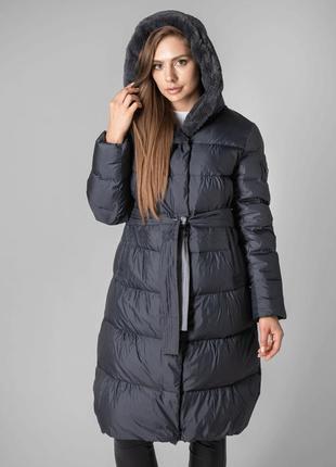 Зимняя длинная куртка серая пуховик clasna с мехом с капюшоном
